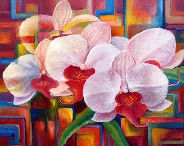 Orchids 2 Painting by Pravit Rojawat