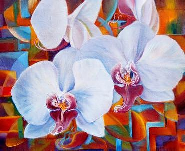Orchids 3 Painting by Pravit Rojawat
