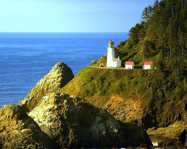 Ocean Photograph - Oregan Lighthouse by Marty Koch