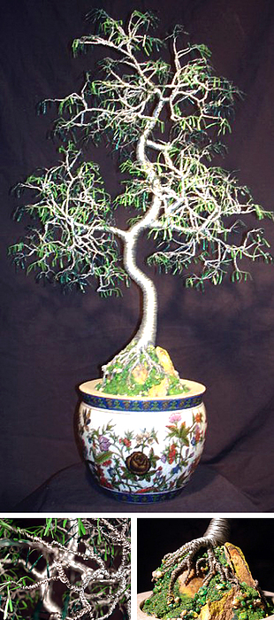 Sculpture Sculpture - Oriental Bonsai Wire Tree Sculpture by Sal Villano