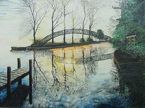 Bridge Drawing - Oriental Bridge by Dan Hausel