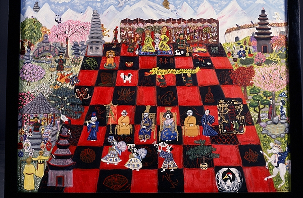 Chess Painting - Oriental Chesspeople by Carol Shumas