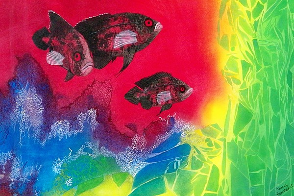 Fish Painting - Oscars In Aquarium by Terry Honstead