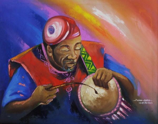 Drummer Painting - Oti Gba Yoruba Drummer by Eziagulu Chukwunonso