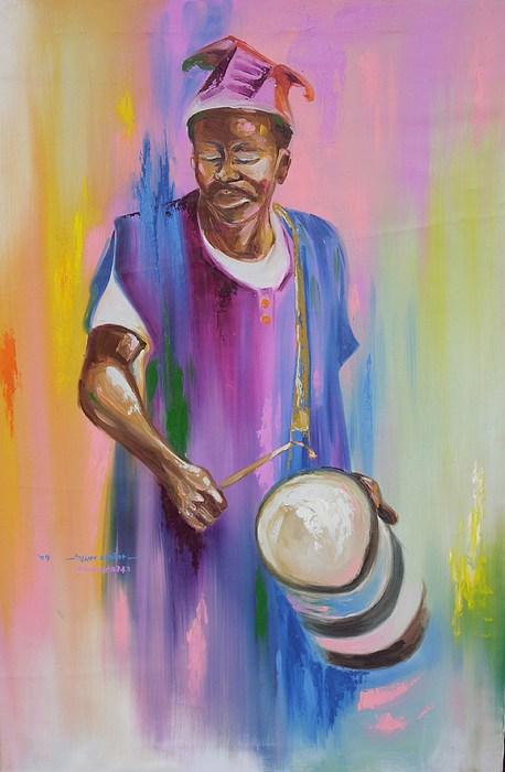 Drummer Painting - Otigba Fulani Drummer by Eziagulu Chukwunonso