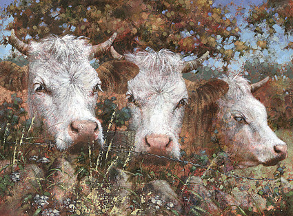 Cows Painting - Our Favourite Corner by David Lyons