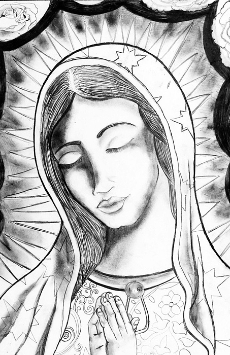 The Virgin Mary Drawing - Our Lady by Jeffrey Kyker