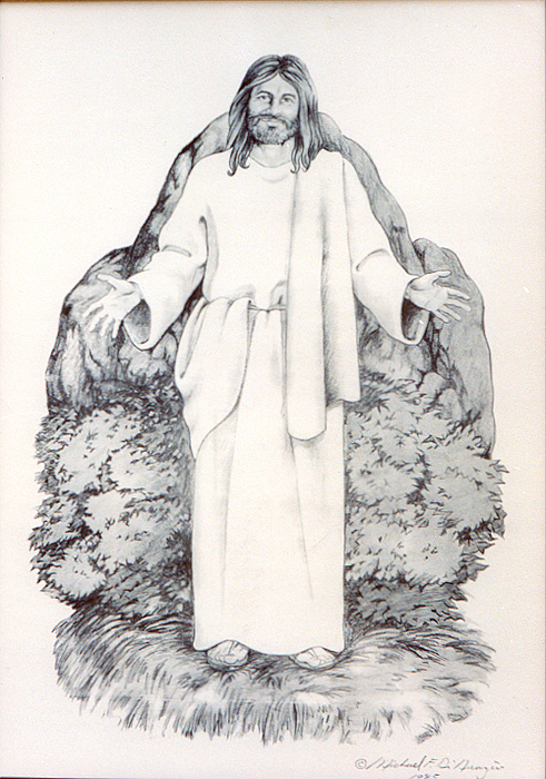 Jesus Drawing - Our Lord - Unser Herr by Michael Di Nunzio