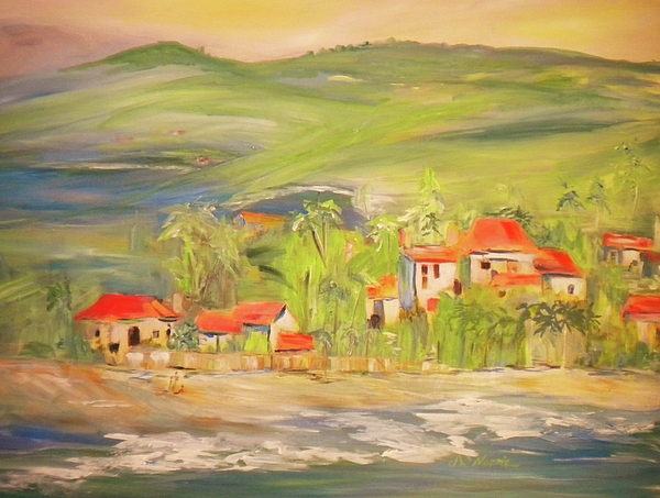 Landscape Painting - Our Seaside Village by Jill Morris