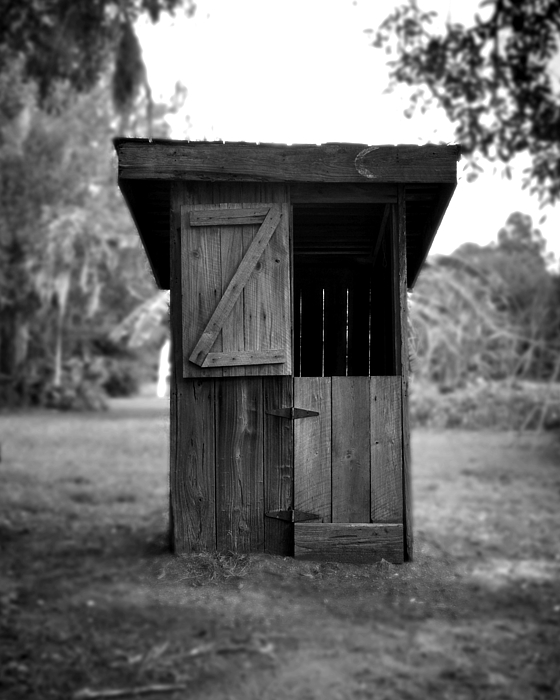 Old Outhouse Photograph - Out House In Black And White by Rebecca Brittain