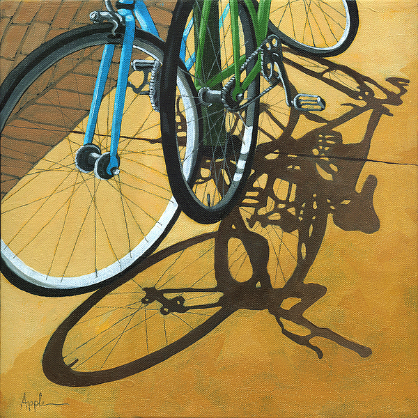 Bicycle Painting - Out To Lunch by Linda Apple