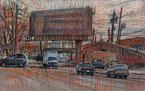 Billboard Drawing - Outdoor Advertising by Donald Maier
