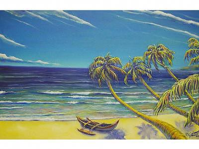 Tropical Beach Painting - Outrigger by Brett Caplinger