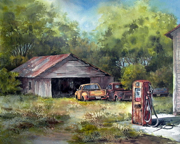 Landscape Painting - Outta Gas by Tina Bohlman