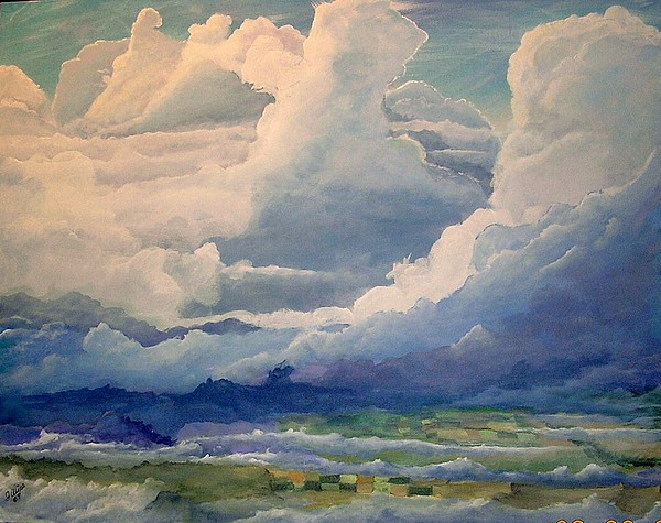 Clouds Painting - Over Farm Land by John Wise