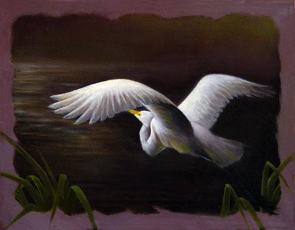 Great White Heron In Flight Painting - Over The Deep by Ulysses Albert III