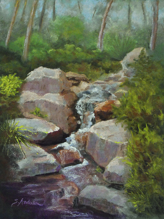 Landscape Painting - Over The Falls by Shirley  Anderson