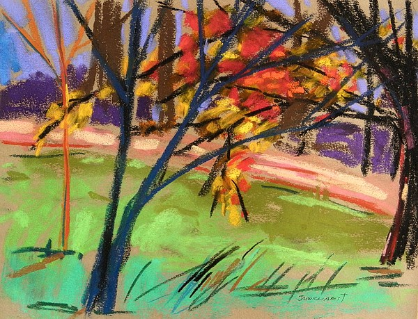 Tree Painting - Overhangs The Path by John Williams