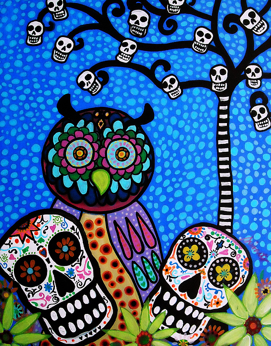Flower Painting - Owl And Sugar Day Of The Dead by Pristine Cartera Turkus