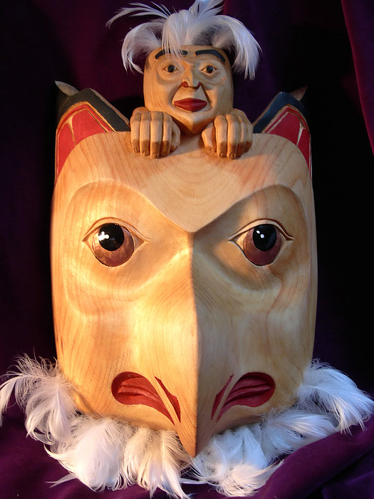 Wood Carving Sculpture - Owl Mask With Human Spirit by Shane  Tweten