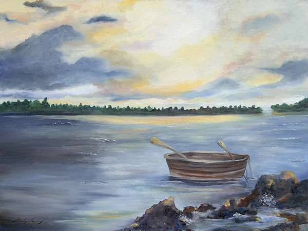 Bay Scene Of Billowing Clouds With Sunset Hues Painting - Oyster Bay by Shirley Lawing