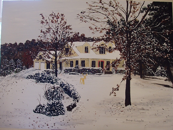 Architecture Painting - Ozark House Christmas Snow by Sharon  De Vore