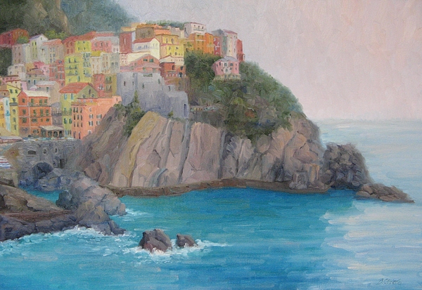 Italy Painting - Painted Ladies Of Manarola by Bunny Oliver