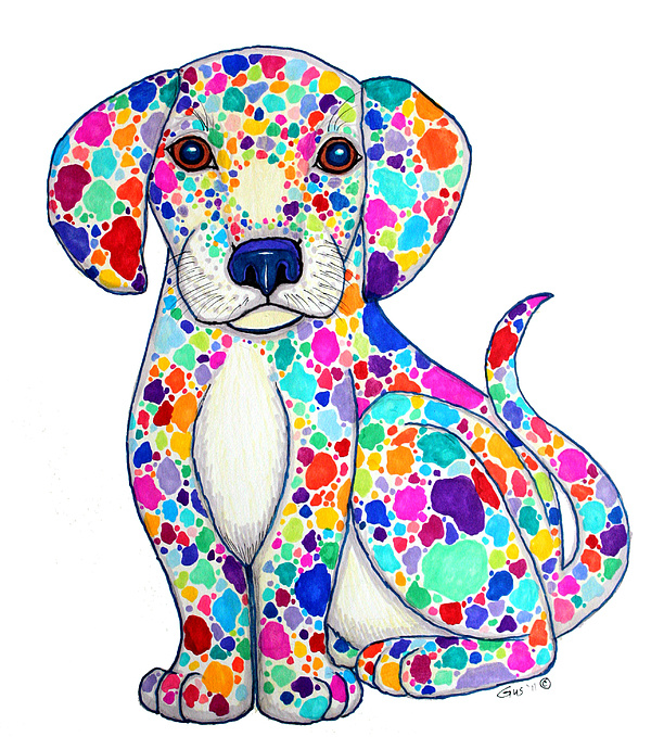 Puppy Drawing - Painted Puppy by Nick Gustafson