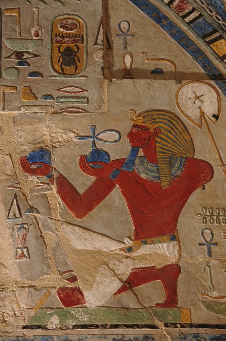 Indoors Photograph - Painted Relief Of Thutmosis IIi by Kenneth Garrett