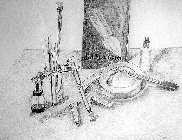Pencil Drawing - Painting Supplies by Jamie Frier
