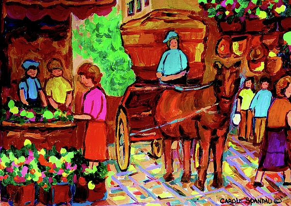 Montreal Painting - Paintings Of Montreal Streets Old Montreal With Flower Cart And Caleche By Artist Carole Spandau by Carole Spandau
