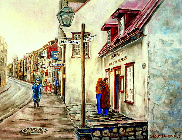 Quebec Painting - Paintings Of Quebec Landmarks Aux Anciens Canadiens Restaurant Rainy Morning October City Scene  by Carole Spandau