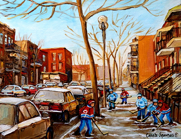 Montreal Painting - Paintings Of Verdun Streets In Winter Hockey Game Near Row Houses Montreal City Scenes by Carole Spandau