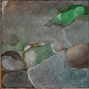 Abstract Landscape Painting - Pale Roc by Judith Grunberger