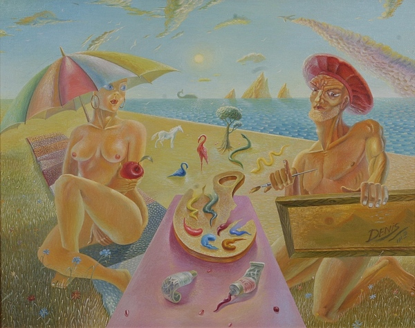 Surrealism Painting - Palette Of The World by Denis Hmylnin
