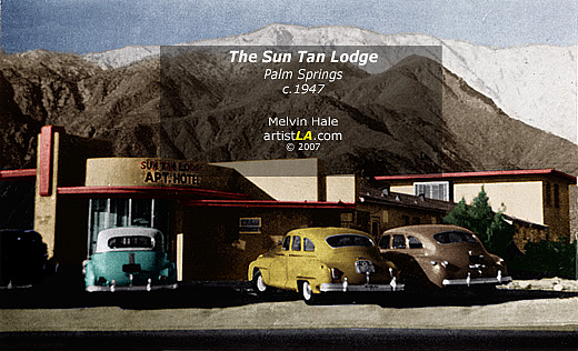 Vintage Painting - Palm Springs Artwork Entitled The Suntan Lodge On North Palm Canyon Drive C1948 by Melvin Hale