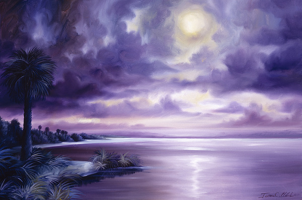 Moon Painting - Palmetto Moonscape by James Christopher Hill