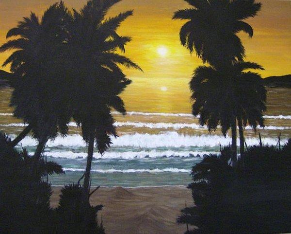 Beach Painting - Palms In Silouhette by Linda Bennett