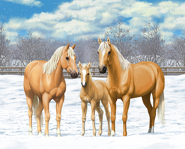 Horses Painting - Palomino Horses In Winter Pasture by Crista Forest