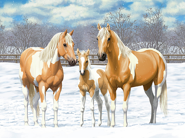 Horses Painting - Palomino Paint Horses In Winter Pasture by Crista Forest