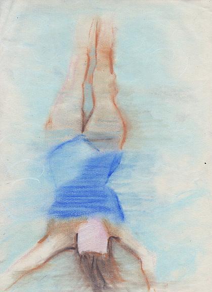 Swimmer Drawing - Pamela Underwater by Brad Wilson