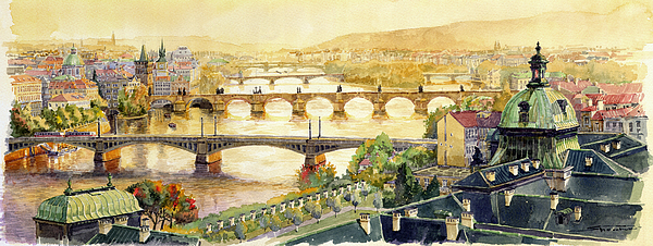 Watercolour Painting - Panorama Prague Briges by Yuriy  Shevchuk
