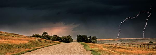 Lightning Digital Art - Panoramic Lightning Storm In The Prairie by Mark Duffy