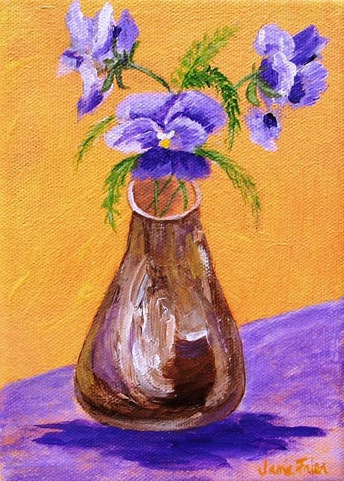 Pansy Painting - Pansies In Brown Vase by Jamie Frier