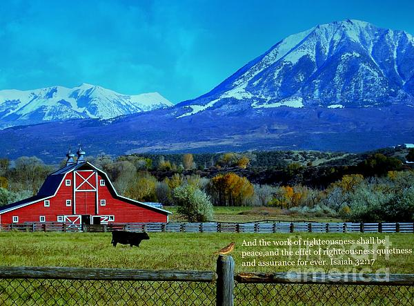 Red Barn Digital Art - Paonia Mountain And Barn by Annie Gibbons
