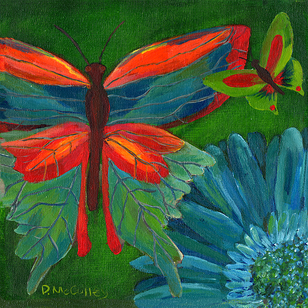 Butterfly Painting - Papillon Vert - Green Butterfly by Debbie McCulley