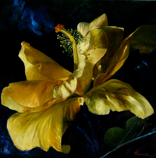 Hibiscus Painting - Papo Series - Amarillo by Victoria  Herrera