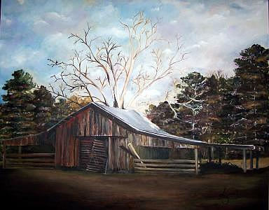 Barn Painting - Pappas Barn Sold by Amanda  Sanford