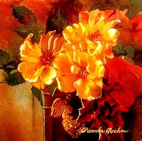 Floral Painting - Par Trois by Pamela Roehm