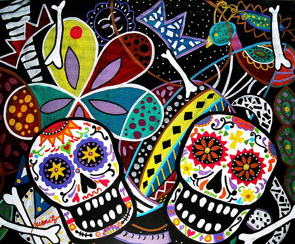 Day Of The Dead Painting - Pareja Dia De Los Muertos by Pristine Cartera Turkus